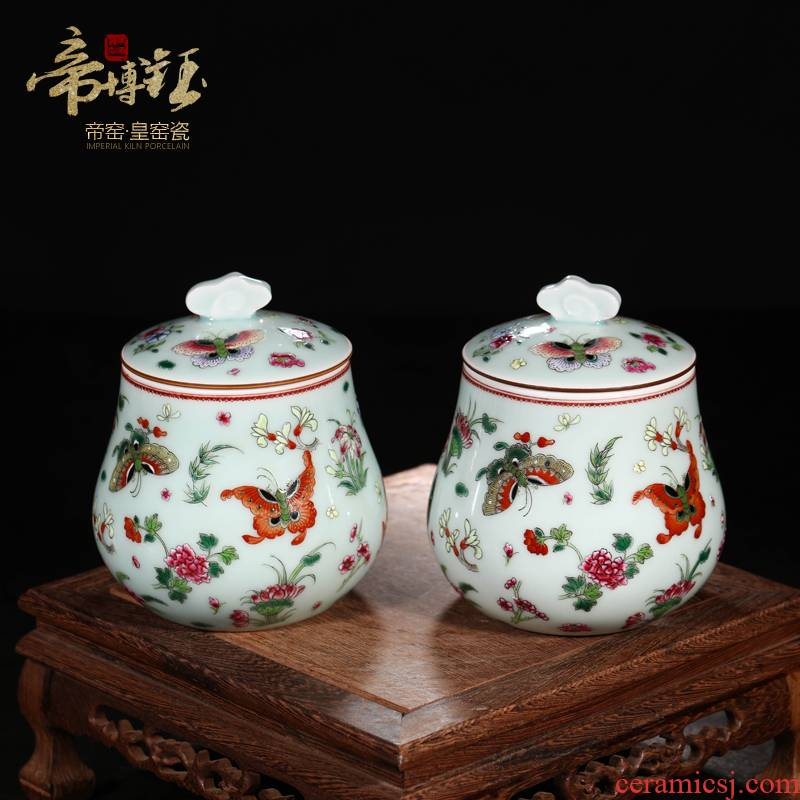 Jingdezhen ceramics antique hand - made azure glaze butterfly tea pot storage tank adornment handicraft furnishing articles