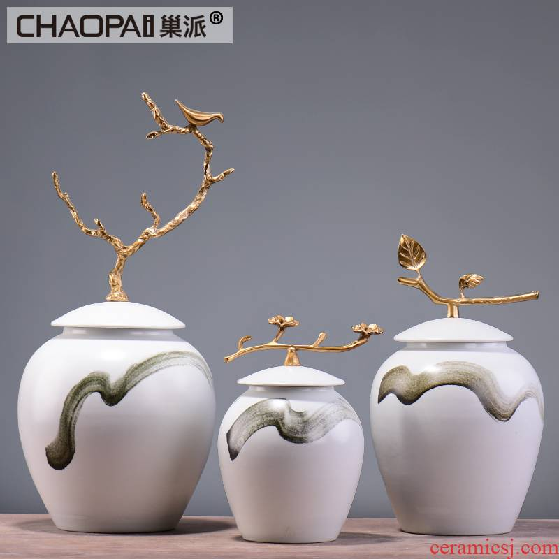 Modern ceramic storage tank furnishing articles, the sitting room is the study of new Chinese style originality example room porch soft decorations arts and crafts