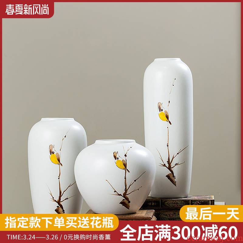 Creative living room white ceramic vase decoration decoration pay-per-tweet bird furnishing articles study China flower art suits for