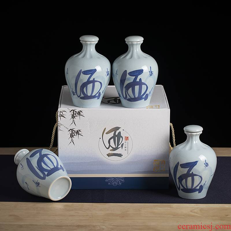 An empty bottle of jingdezhen ceramic household seal 1 catty creative Chinese wine bottle wine canned white wine utensils hip flask