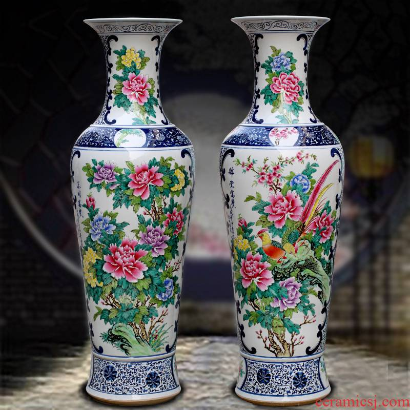 Jingdezhen ceramics hand - made pastel peony ceramic floor living room big vase hotel decoration gifts furnishing articles