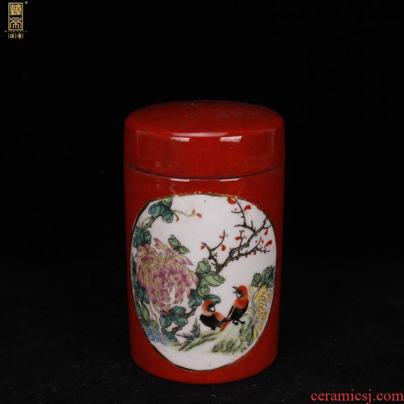Jingdezhen antique reproduction antique hand old tyres and grain of the republic of China folk collecting antique tea caddy fixings storehouse furnishing articles