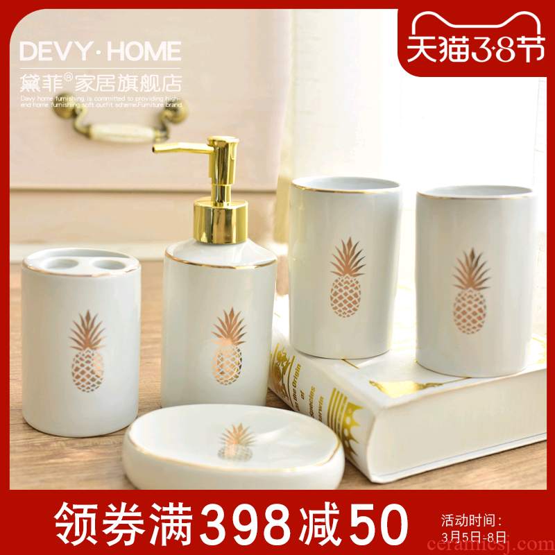 Contracted and I household ceramic light set key-2 luxury bathroom five European bathroom toilet wash to set decoration furnishing articles