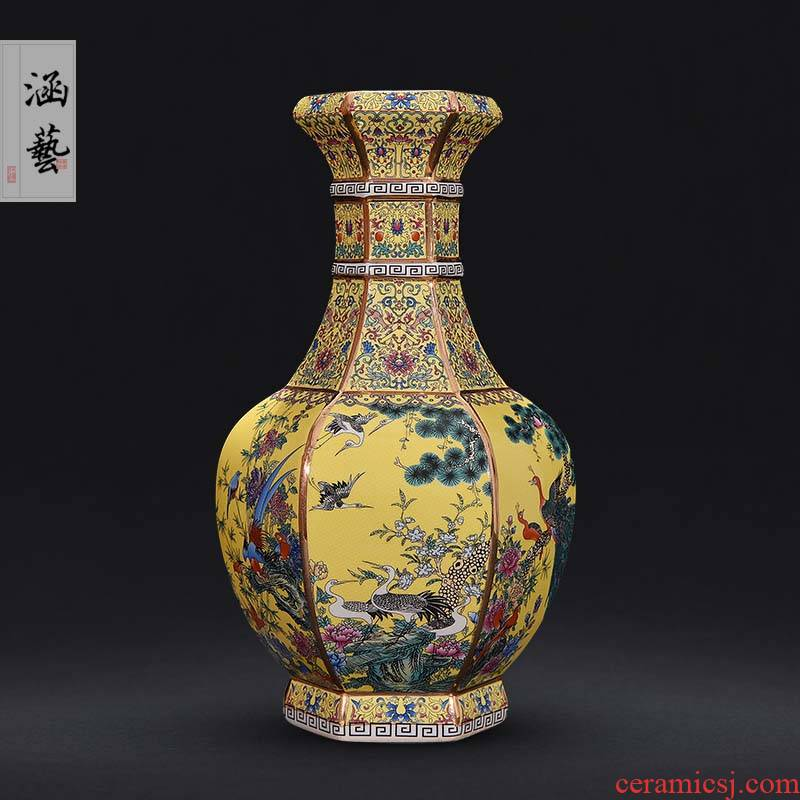 Qianlong vase of jingdezhen ceramics enamel antique vase of Chinese classical sitting room adornment handicraft furnishing articles