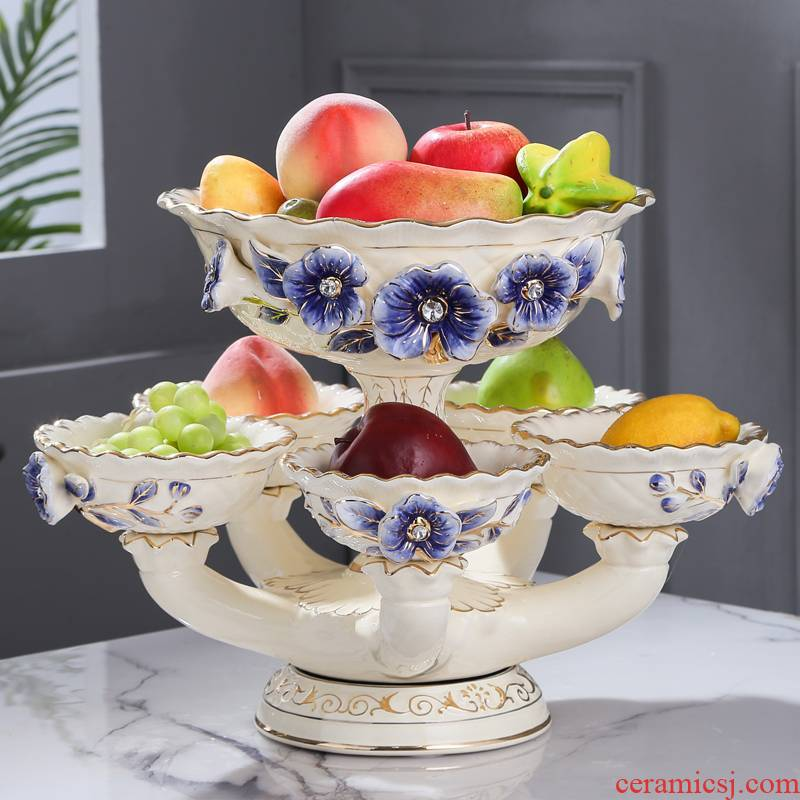 Fort SAN road European - style rotating double fruit bowl large home sitting room decorate ceramic furnishing articles blue name plum flower series