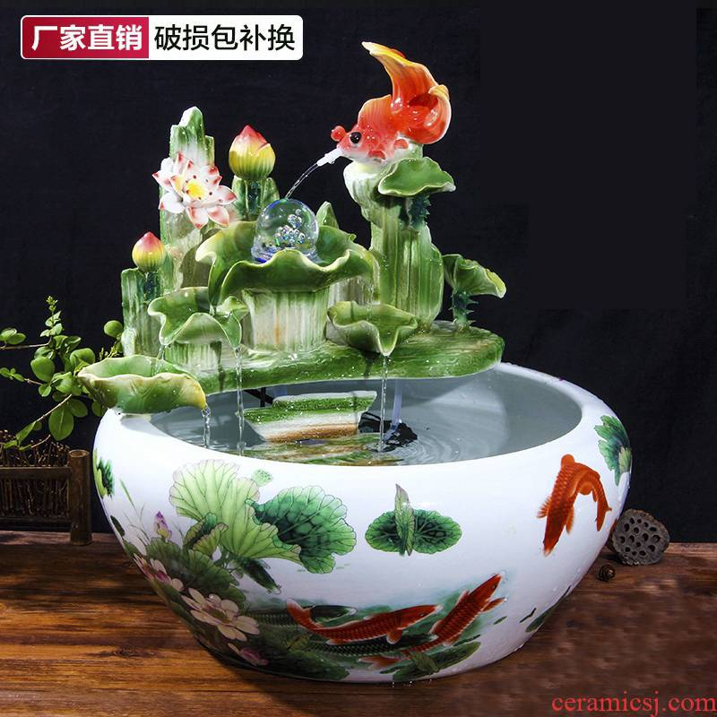 Chinese feng shui round ceramic aquarium water fountain furnishing articles sitting room home desktop household the accumulate creative humidifier