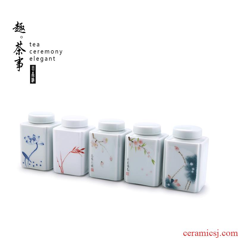 Babson d dehua white porcelain tea pot creative move hand - made ceramic seal moisture small tea storage tank