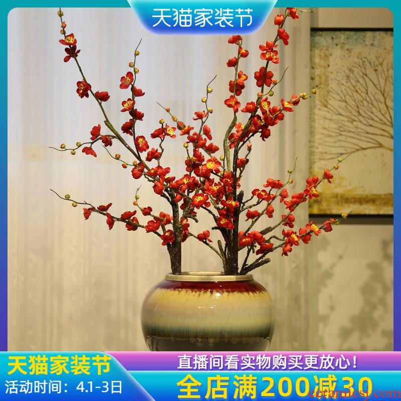 Jingdezhen up with color glaze vase furnishing articles ceramic flower simulation flower, the sitting room TV cabinet table furnishing articles