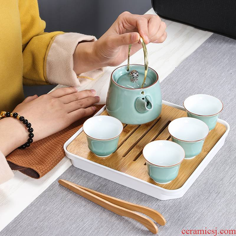 In building is suing travel tea set suit portable package type office celadon Japanese girder pot a pot of four cups