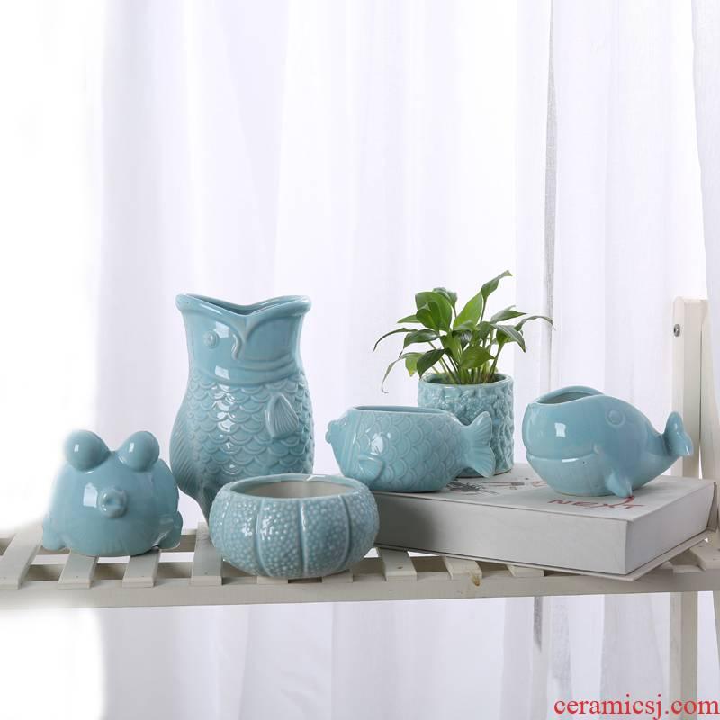 European ceramic flower pot desktop creative cartoon Mediterranean, fleshy contracted micro landscape ceramic flower implement green plant more meat