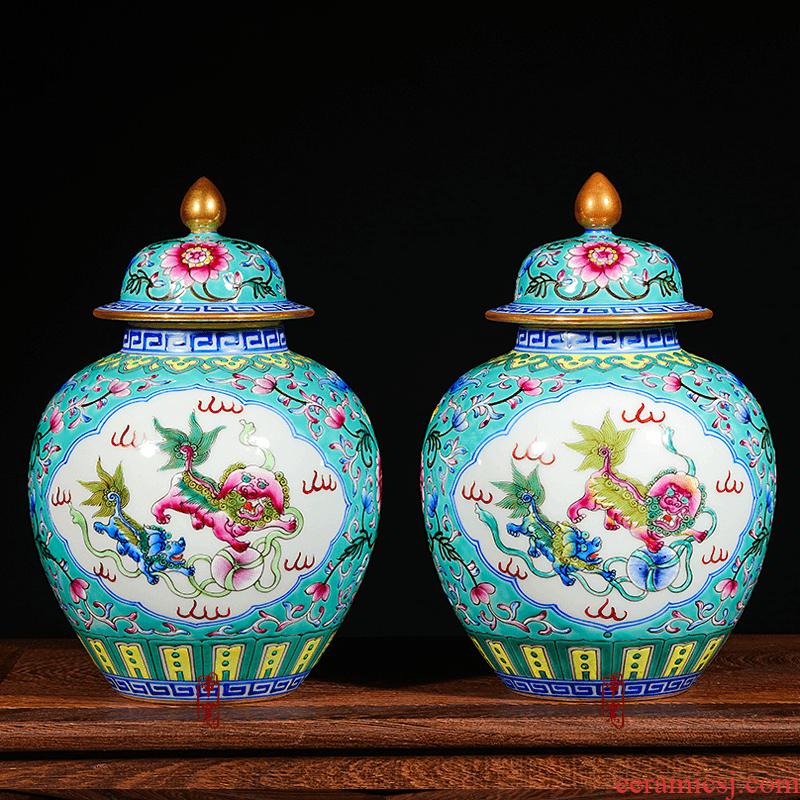 Jingdezhen porcelain painting enamel pastel colored vases, antique ceramics do old household decorates porch place decoration