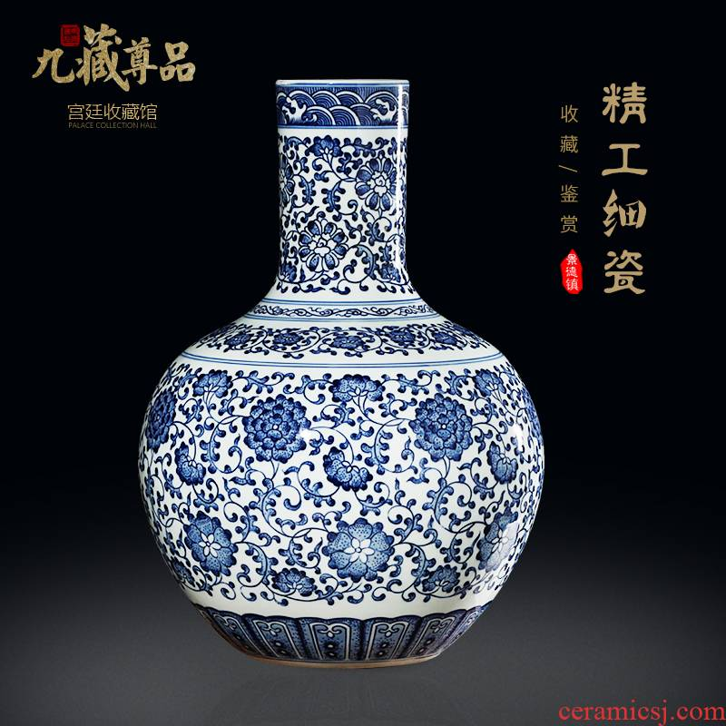 Jingdezhen ceramics imitation the qing qianlong hand - made bound branch of blue and white porcelain lotus bottles of new Chinese style sitting room adornment is placed