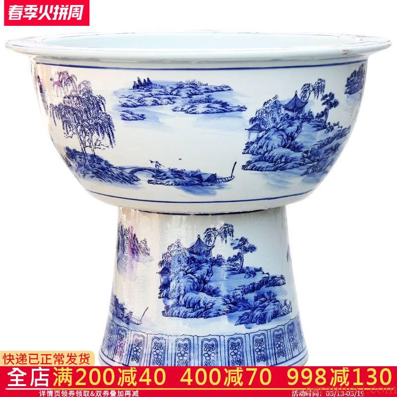 C5 jingdezhen ceramics goldfish bowl fish bowl large heavy tank landing large sitting room the tortoise cylinder water lily