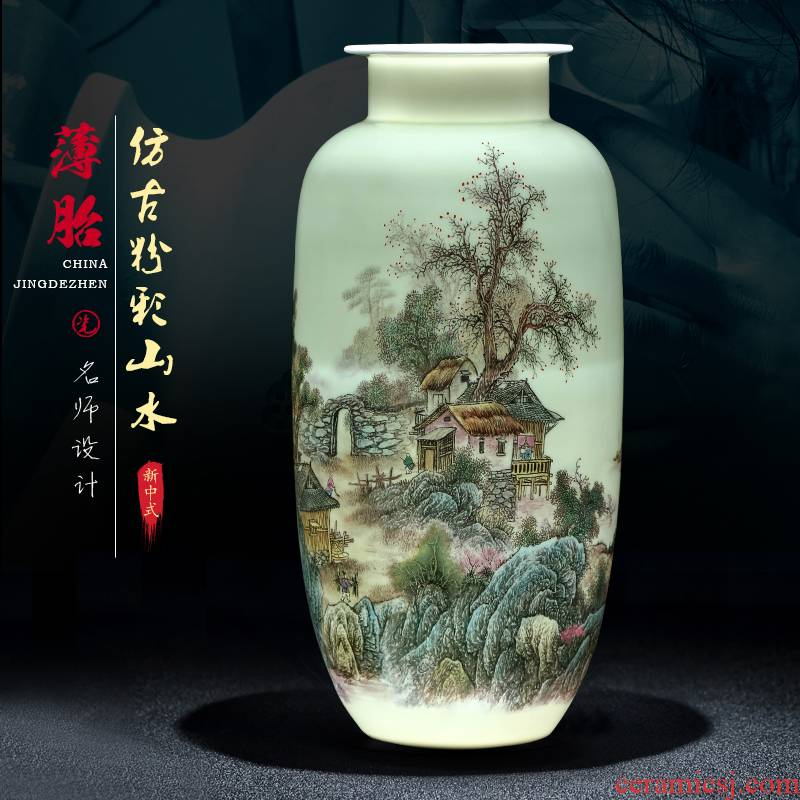 Pastel landscapes of jingdezhen ceramics vase furnishing articles sitting room TV ark, of Chinese style household adornment arranging flowers