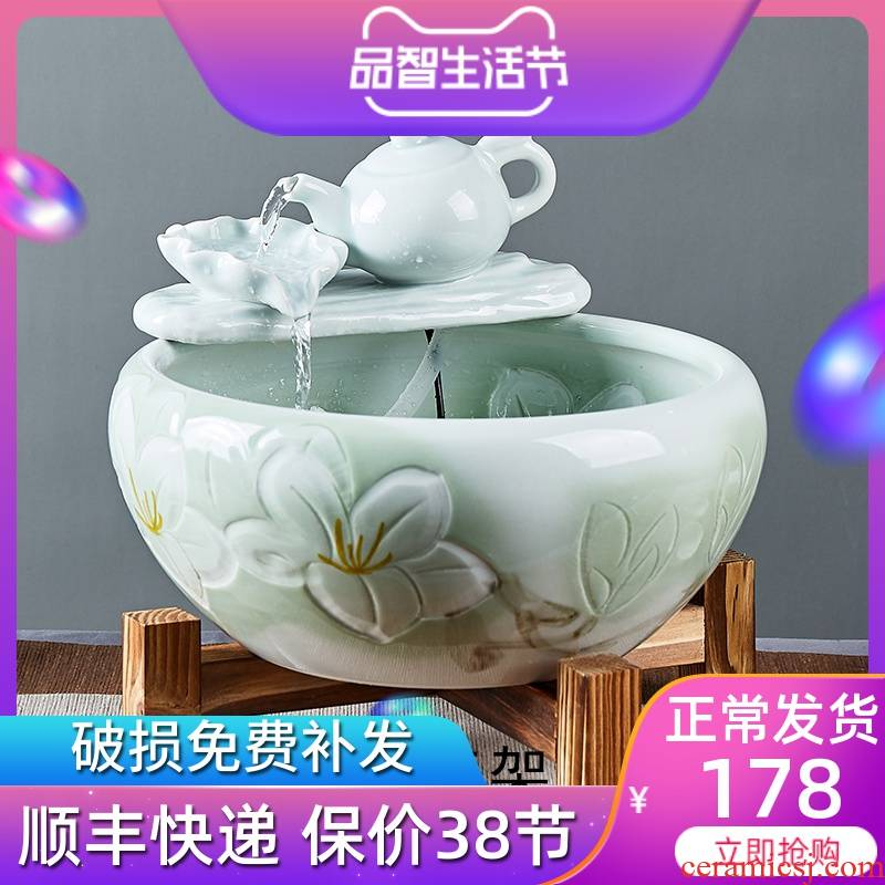 Jingdezhen ceramic aquarium small goldfish bowl sitting room automatic flow - oxygen furnishing articles circular fish basin easy to clean