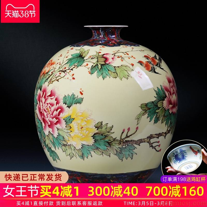 Jingdezhen chinaware big vase manual hand - made peony flower arranging new Chinese style living room TV ark adornment furnishing articles