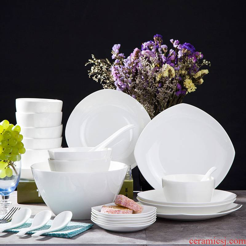 28 head ipads Jingdezhen porcelain tableware suit Chinese simple dishes household pure white ceramic package mail