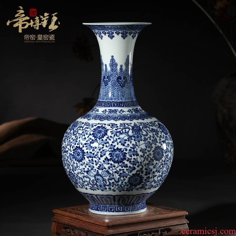 Jingdezhen ceramics vase furnishing articles antique hand - made of blue and white porcelain bottle of blue flower arrangement sitting room adornment gift porcelain