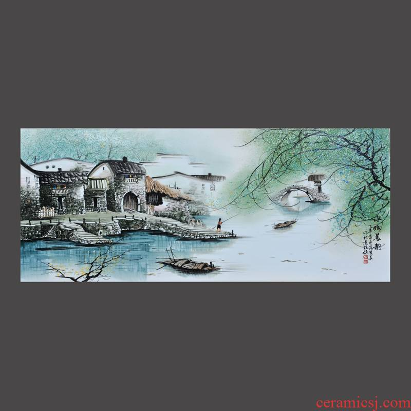 Jingdezhen ceramics Feng Huiying hand - made of morning rhyme porcelain plate painter adornment picture hanging in the sitting room is placed