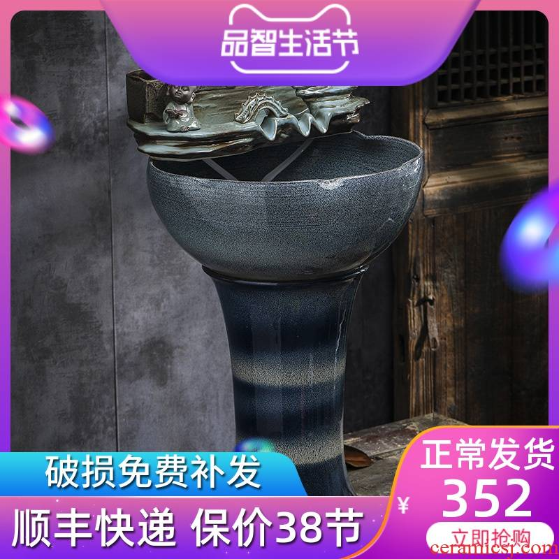 Ceramic water furnishing articles sitting room ground tank column type restoring ancient ways goldfish bowl automatic cycle feng shui wheel of fortune