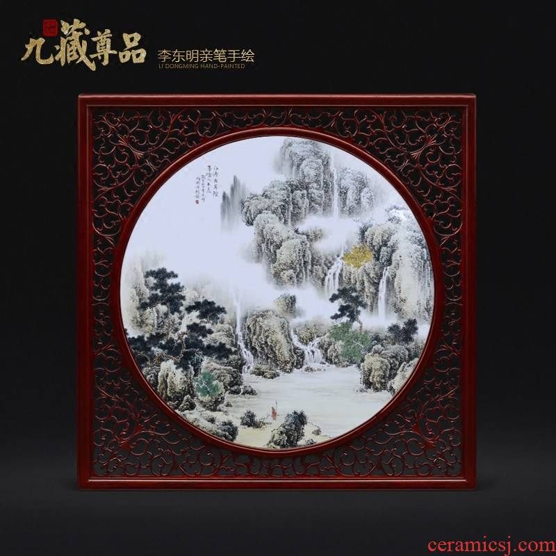 Jingdezhen ceramic dong - Ming li personally hand - made scenery scenery adornment porcelain plate paintings of Chinese style household decoration