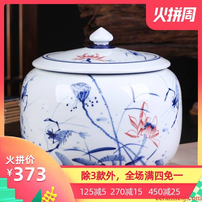 Jingdezhen ceramics pu 'er tea cake tin, large general seal pot of tea packaging gift box