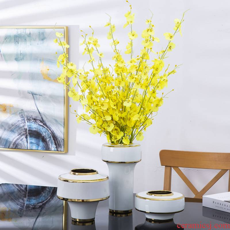 Modern light key-2 luxury ceramic vase furnishing articles European wind dried flower arranging flowers sitting room adornment table, TV ark, home decorations