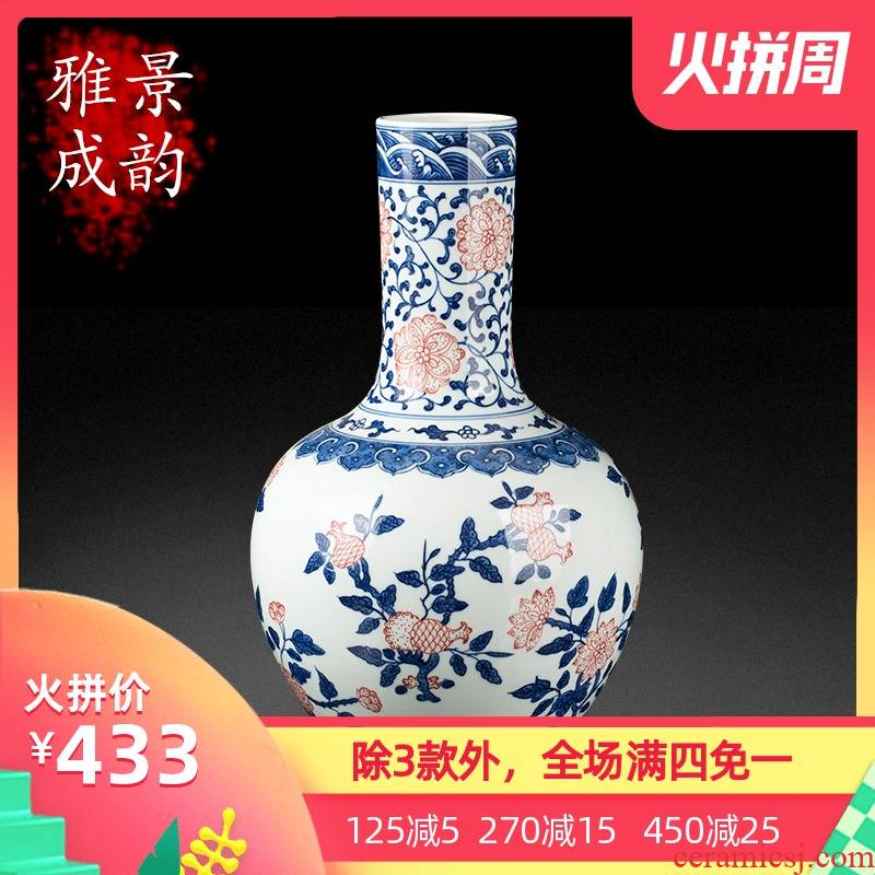 Jingdezhen blue and white ceramics celestial antique porcelain vase sitting room place, household decoration modern TV ark