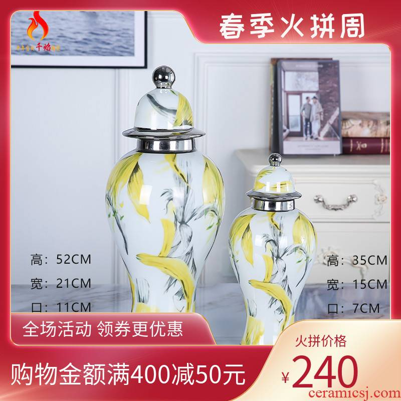 Jingdezhen ceramic vase furnishing articles creative flower decoration in the sitting room porch mesa TV cabinet table plating honeysuckle