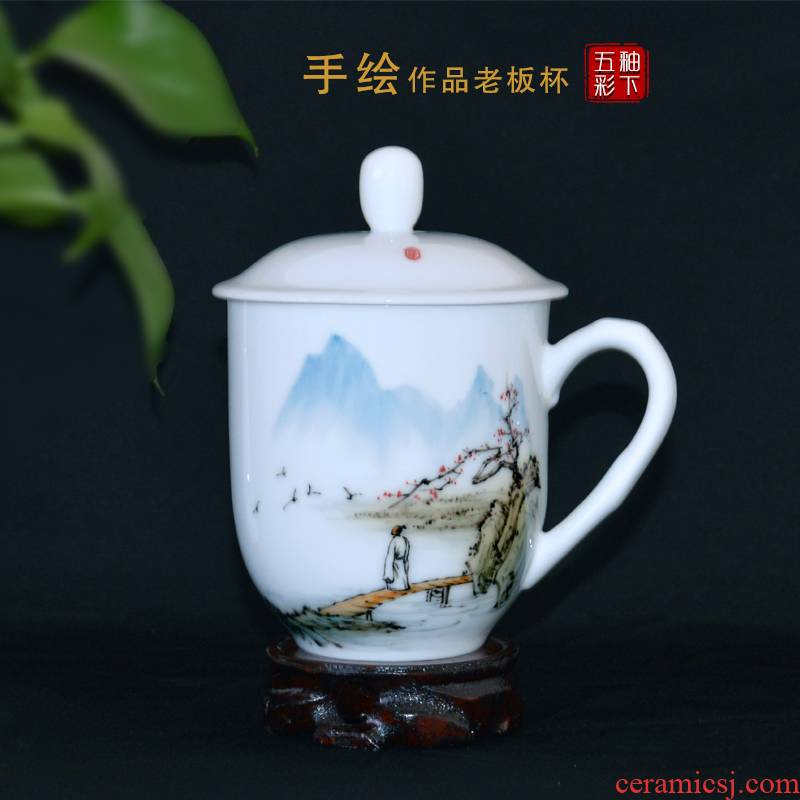 New liling porcelain teacup tea cup large capacity and household hand - made under glaze color porcelain gifts