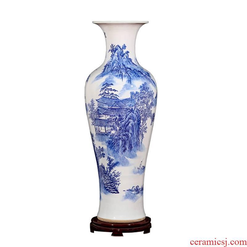 Jingdezhen ceramic handicraft ceramic landscape of large blue and white porcelain vase sitting room home decoration porcelain furnishing articles