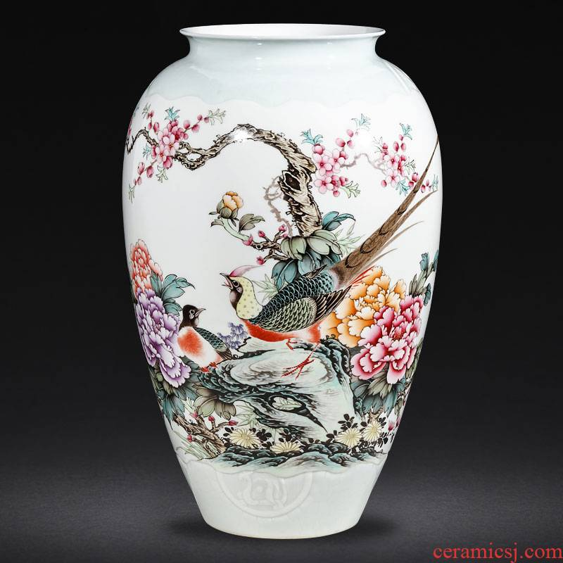 Jingdezhen ceramics famous hand - made powder enamel vase furnishing articles sitting room flower arranging Chinese style household ornaments
