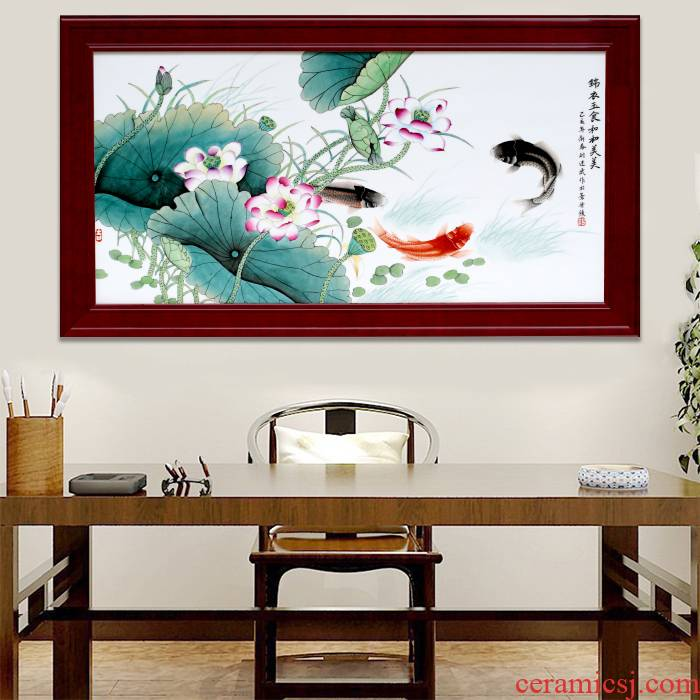 Jingdezhen porcelain plate painting HeHeMeiMei home sitting room adornment of modern office sofa background wall hang a picture