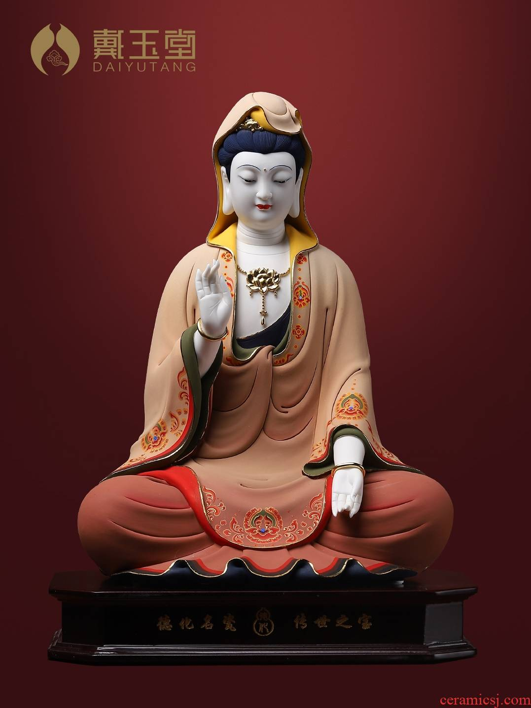Yutang dai dehua porcelain of the south China sea avalokitesvara figure of Buddha worship that occupy the home furnishing articles very see colour is sitting guanyin sitting room