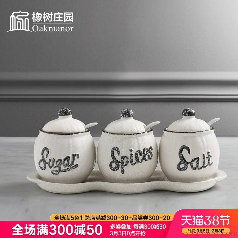 Ceramic seasoning jar of salt sugar seasoning box combination suit household household restaurant kitchen utensils MSG as cans