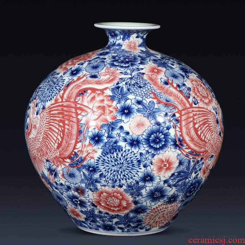 Jingdezhen ceramics imitation qianlong hand - made of blue and white porcelain vase, double phoenix home furnishing articles sitting room