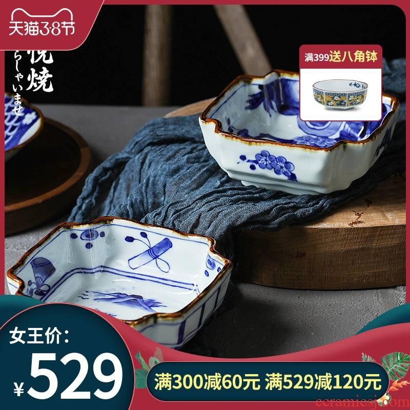 Love make burn corner cut square bowl in ceramic tableware Ivan imported from Japan Japanese under the glaze color soup bowl bowl soup bowl