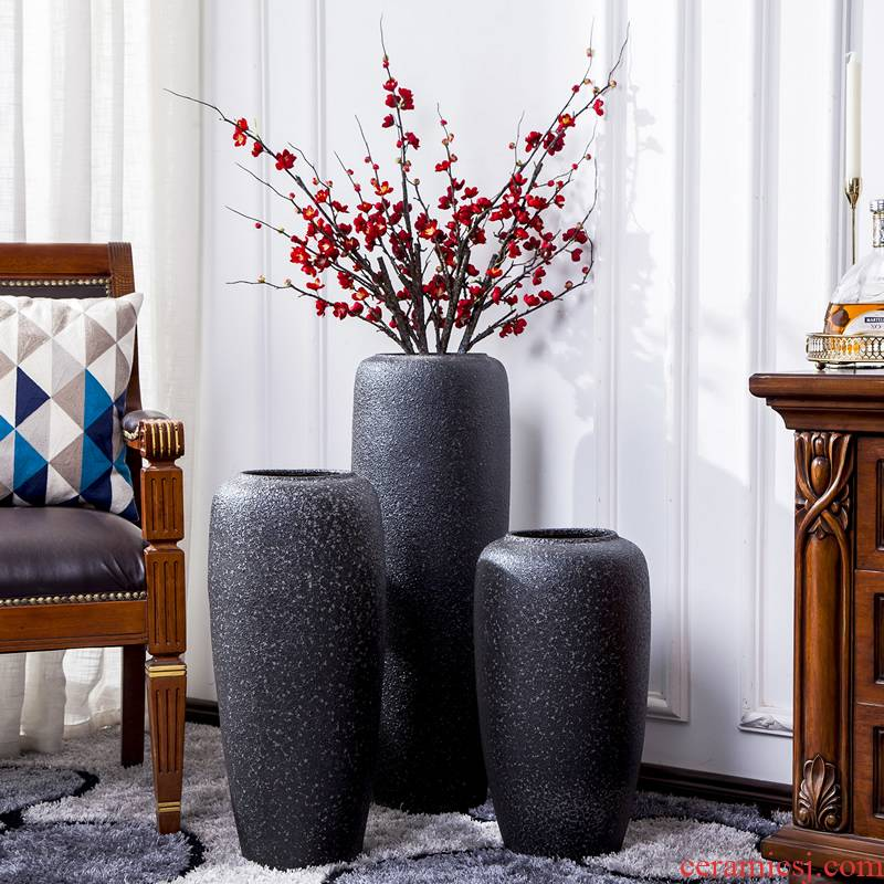 Jingdezhen ceramic big vase landed Nordic I and contracted, dried flowers, flower arrangement sitting room adornment is placed POTS restoring ancient ways
