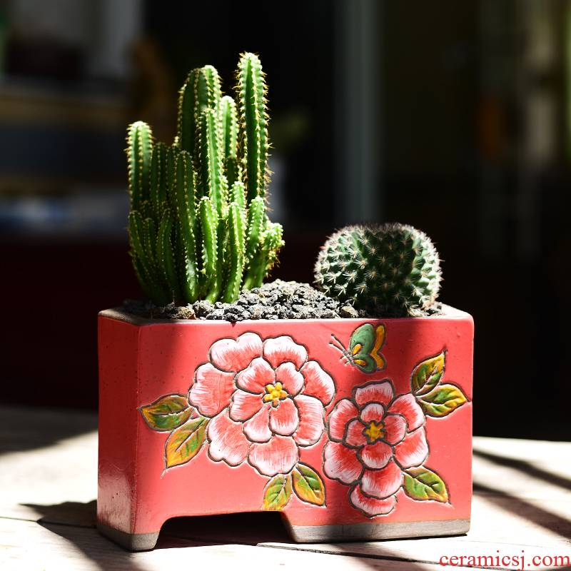 Fleshy flower POTS, large diameter clearance package mail special ceramics creative move through my pockets hand - made pottery small the plants