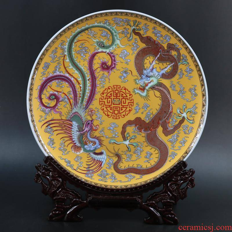 Archaize of jingdezhen porcelain through yellow in extremely good fortune in the dish study desk home decoration to restore ancient ways furnishing articles