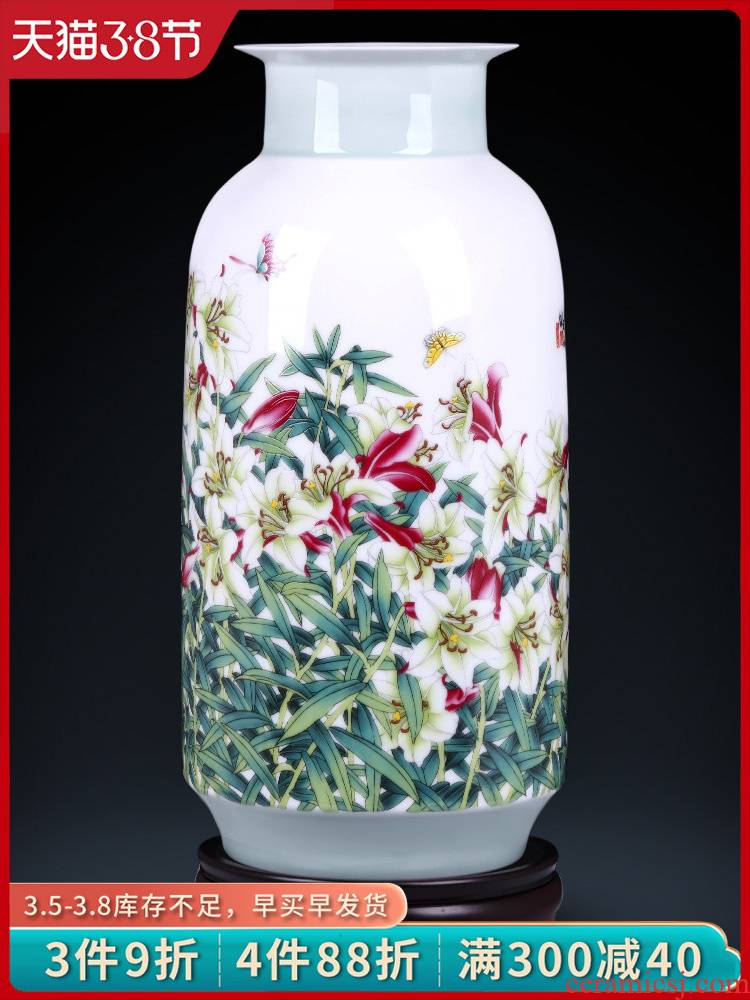 Jingdezhen ceramics powder enamel vase flower arranging TV ark place lily by cheung sitting room of Chinese style household act the role ofing is tasted
