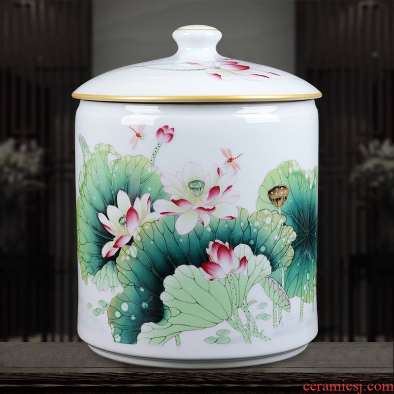 Jingdezhen ceramics famous hand - made porcelain enamel vase lotus home sitting room adornment is placed caddy fixings