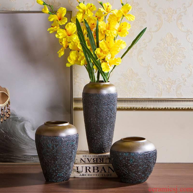 Jingdezhen ceramic vase coarse pottery dry flower arranging flowers restore ancient ways do old earthenware jar flower pot sitting room place soft decoration