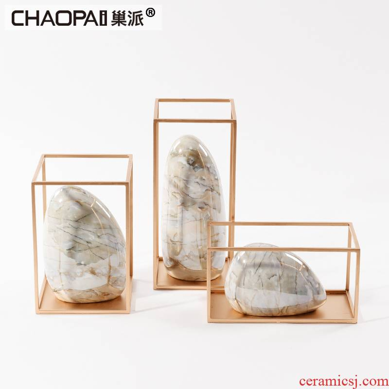 New Chinese style ceramic zen soft golden decorations show the teahouse rich ancient frame floor light and decoration art furnishing articles