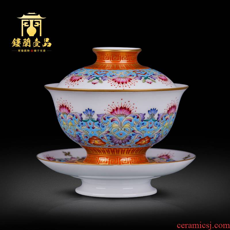 Jingdezhen ceramic all hand - made colored enamel paint even rise step by step foot only three tureen tea bowl of tea