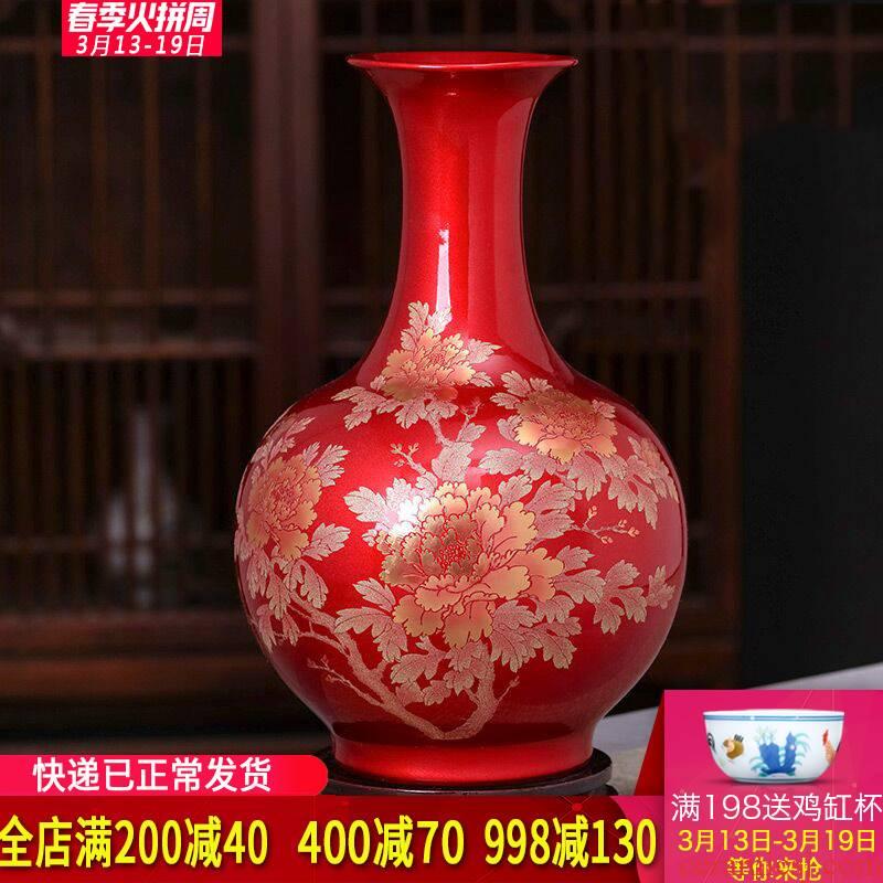 Jingdezhen ceramics vase furnishing articles sitting room modern Chinese style household wine cabinet TV ark adornment porcelain arranging flowers