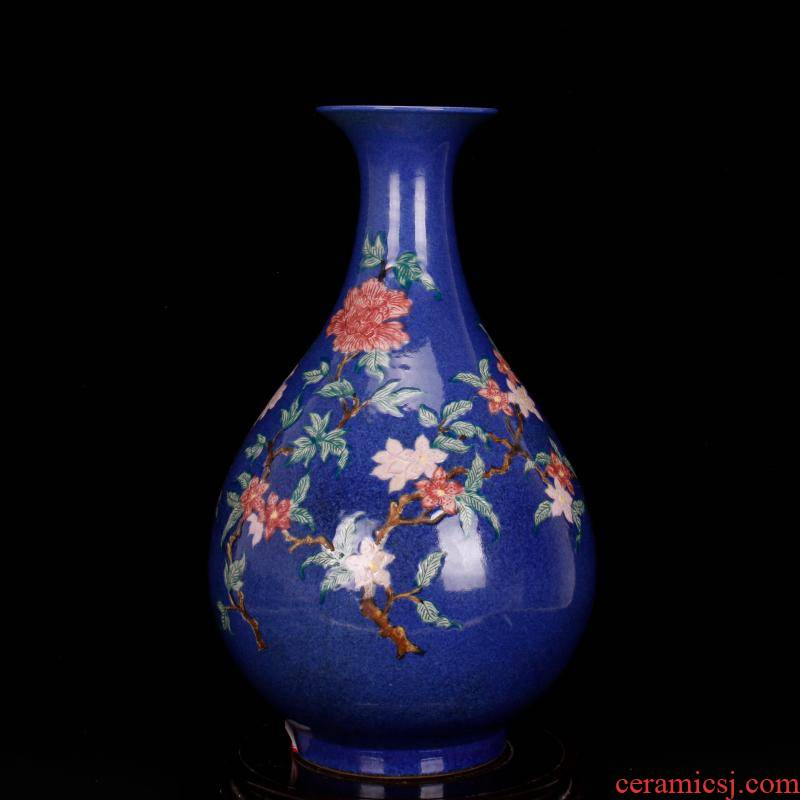 Jingdezhen imitation antique Ming xuande years antique checking blue bird okho spring bottle of ancient Chinese style restoring ancient ways furnishing articles