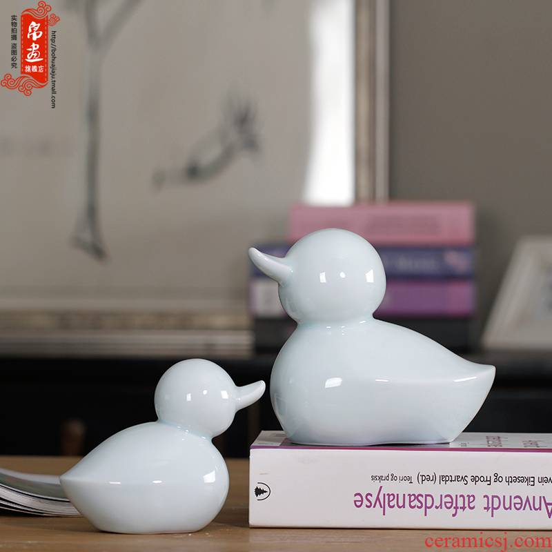 Creative rural style home sitting room decoration ceramics express little duck furnishing articles celadon desktop craft ornaments