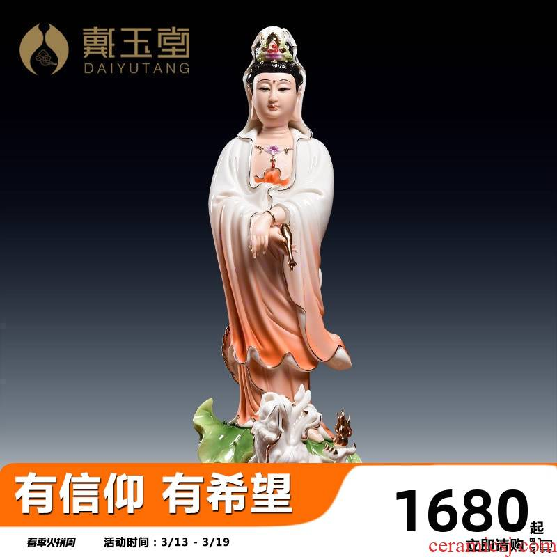 Yutang dai ceramic crafts/avalokitesvara figure of Buddha made dragon leaf guanyin D03-017 - b