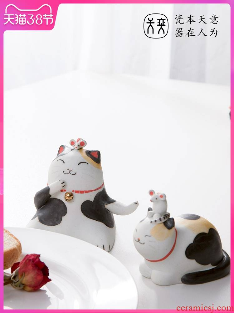 Day game ideal life cat jingdezhen ceramic checking out creative and lovely small ornament doll birthday present for girlfriends